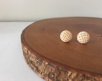 Orange Fabric Button Earrings