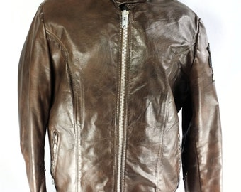 Schott Brown Leather Lined Motorcycle Jacket Womens Size 16 w BMW Patch