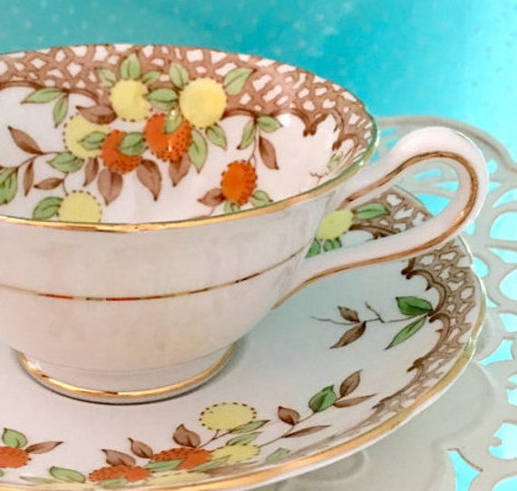 Antique 1910's Fruit Tea Cup and Saucer