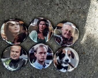 """Magnets or Buttons:  2.25"""" 58MM Frasier Magnets or Pinbacks Set of 6 Frasier TV Show"""