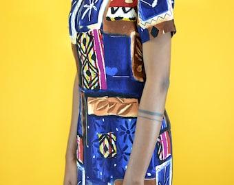 Vintage 80s / 90s Ethnic Print Midi Baby Doll Dress