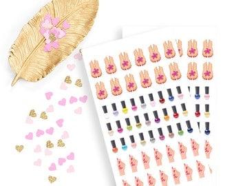 Manicure and pedicure sticker, life planner sticker for kikki k, filofax or erin condren