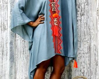 Poncho Tassels/Embroidery beach tunic/Poncho Loose fit/Short dress tassels/Summer poncho/Beach Wear * BRAZIL PONCHO