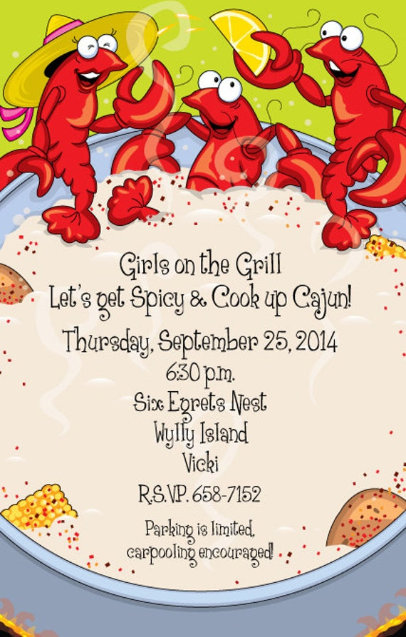 Crawfish Boil Invitation Crawfish Boil Party Crawfish Party Party