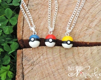 Pokémon Go Yellow pokeball Necklace blue or red 45cm chain (fimo) pendant, geek