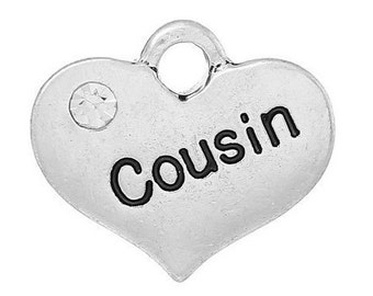 Cousin Heart Charm with Stone *add on* Only