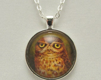 Grumpy Owl Glass Necklace, Grumpy Owl Glass Pendant, Owl Necklace, Owl Pendant, Owl Charm, Glass Pendant, Glass Necklace, Glass Owl Charm