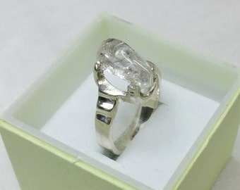 Ring Silver 925 Silver ring with rock crystal size 18.6 mm size 59 SR563