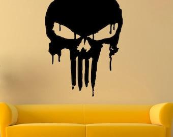 Punisher Vinyl Decal Punisher Wall Sticker Comics Wall Decals Wall Vinyl Decor /2dwa/