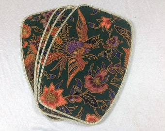 Vintage Set Of 4 Paisley Straw Placemats And Coasters Fabric Straw Placemats And Coasters