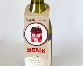 Wine Bottle Tag, Wine Bottle Gift Tag, New Home Gift, House Warming Gift, Wine/Spirits Hang Tag, Wine Accessories, Gift From Realtor