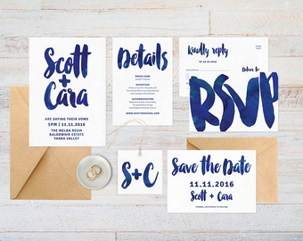 Wedding invitation set, Navy wedding invitation, RSVP postcard, Wedding details card, Wedding set, Wedding suite, Watercolour wedding invite