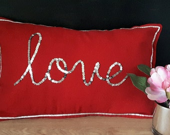 LOVE in sequins, red pillow cover, red valentine pillow, red sweetheart pillow, red love pillow, red gift pillow, anniversary gift pillow