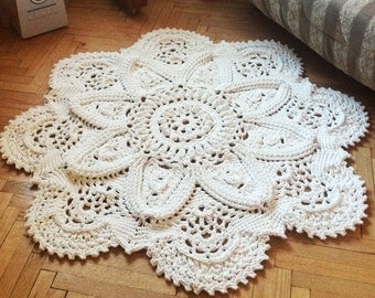 Crochet GRACE rug 3D 52 in. Bed side  and Baby rug Round floor lace living room mat. Wedding gift, birthday gift, area rug