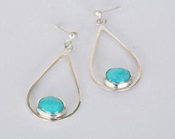 Sterling Silver Amazonite Earrings / Blue Stone Earrings / Statement Earrings / Silver Dangles / Amazonite Earrings
