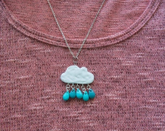 Rain cloud necklace charm, polymer clay charm, kawaii rain cloud necklace, kawaii necklace charm, birthday gift, handmade clay jewelry