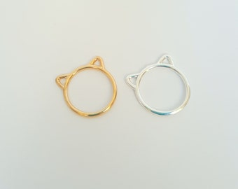 Cat Ears Ring - Animal Ears - Animal Jewelry - Gold Ring - Silver Ring - Cute Cat Ears