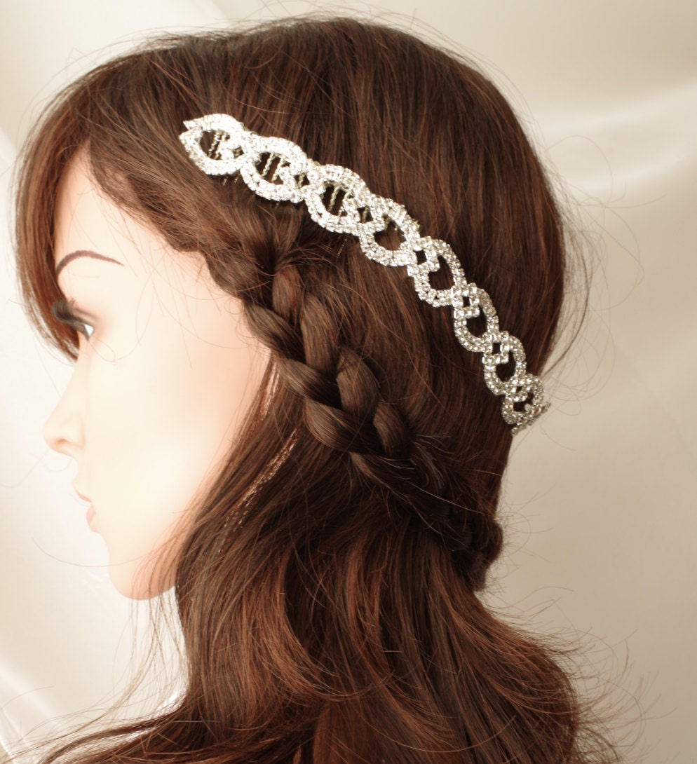 Wedding Hair With Rhinestone Headband : Rhinestone headband hair tiara wedding bridal