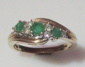 9ct Gold Emerald and Diamond Ring Size UK N USA 6 1/2