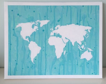 Water Color World Map Canvas, 11x13 in. Wall Art, Decorative Map Hanging, blue, green, watercolor