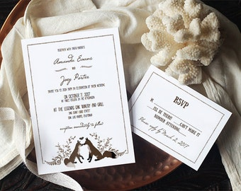 Printable Invitation Template DIY - FOXY, fox Invitation-  - Edit Yourself in Word