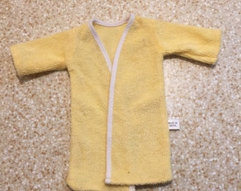 1960s Vintage Barbie Bath Robe - Mattel - Yellow - WhiteTrim - Soft