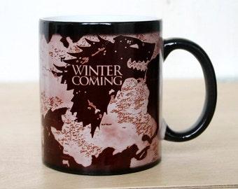 Color Changing Mug, Game Of Thrones Mug , Funny Teacup, Magic Mugs, Magical Mug, Ceramic Coffee Mug, Funny Message, Winter is Coming, Mugs