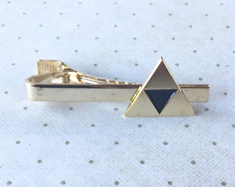 Legend of Zelda Triforce Link Tie Clip Bar Clasp Links in Gold