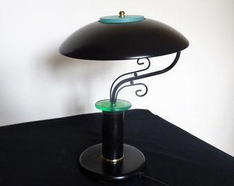 Lamp German Bauhaus design black metal and light intensity dimmer