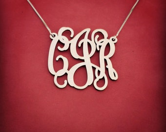 Monogrammed Necklace Silver Monogram Necklace Birthday Gift Monogram Necklace For Her Monogrammed Plate Christmas Gifts Monogrammed Gift