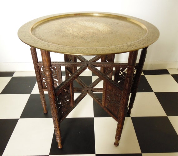 Carved Brass Topped Tray Table Occasional Table Bohemian