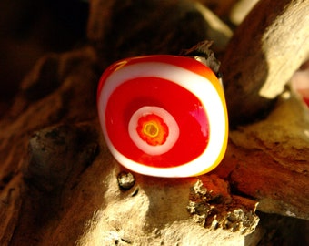 Orange, Red and White Flower Fused Glass Ring