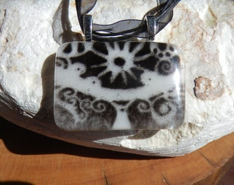 Large Pagan Sun Chalice, Black and White Fused Glass Necklace