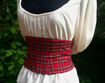 Plaid textile corset, underbust corset, women's clothing, gift for her by RedWings