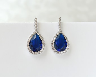 Wedding Earrings Blue Cubic Zirconia Teardrop Earrings Bridal Crystal CZ Earrings Bridesmaid Earrings
