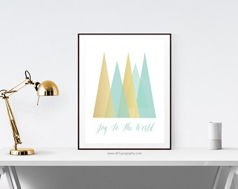 Minimalist Print, Joy To The World, Christmas Gift, Geometric Print, Triangle Print, Triangle Poster, Printable Poster,  Instant Download