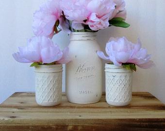 Ivory Mason Jar Set / Country Chic Decor / Painted Glass Jars / Wedding Centerpiece