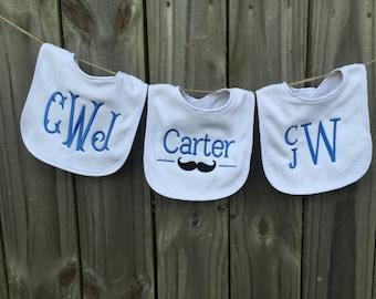 Monogrammed Baby Boy Bib Set