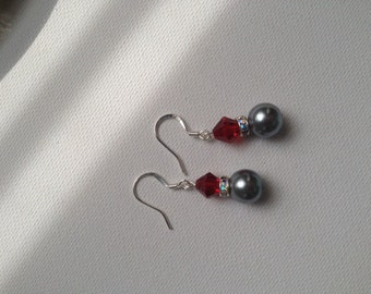 Red White and Grey Drop Earrings