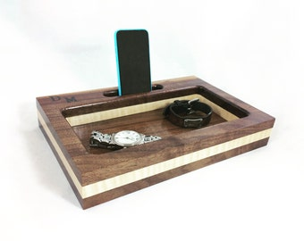 Tri Tone Docking Station, iPhone Dock, Gift for Him, Tech Organizer, Gift for Dad, Personalized Gift, Anniversary Gift, Tech Gift