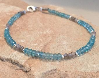 Blue and gray bracelet, labradorite bracelet, apatite bracelet, gemstone bracelet, sterling silver bracelet, Hill Tribe silver bracelet