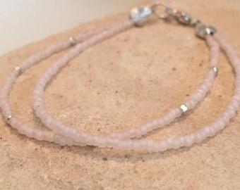 Pink double or single strand seed bead bracelets, pink seed bead bracelet, sterling silver bracelet, boho bracelet, dainty bracelet