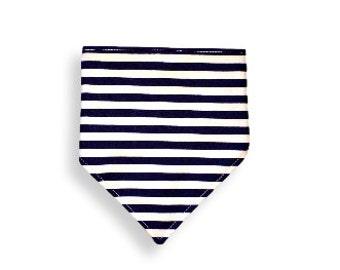 Drool Bib <<Navy Stripes>> Neckerchief/Baby/Toddler Bandana/Scarf/Bib//Dark Blue//White//Stripes