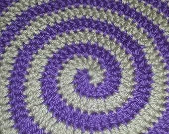 Meditation mat/ Meditation rug/ spiral meditation mat/ crochet meditation mat/Purple and beige mat(26/25