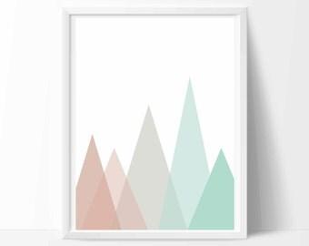 Mountain Art, Turquoise Wall Art, Mountain Art Print, Turquoise Wall Decor, Turquoise Art, Mountain Artwork