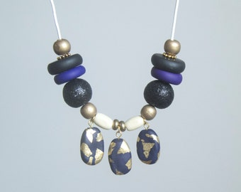 Midnight Out Dash - Geometric Polymer Clay Necklace