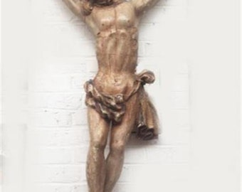 French Religious Statue of Christ Gothic  RARE Hand Carved Wood 17th Century #5082