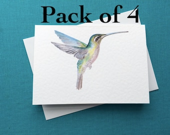 PACK OF 4 Hummingbird Greetings Card A6 4x6inches Watercolour Painting