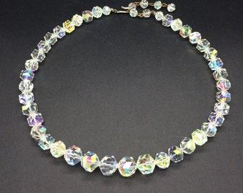 VINTAGE AURORA BOREALIS Crystal Bead Choker Necklace *Free Shipping*