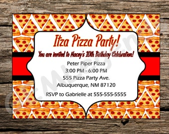 Pizza Party Invitation, Birthday Pizza Party Invitation, Pizza Invitation, Pizza Party Birthday, Pizza Party, Digital Download, Physical